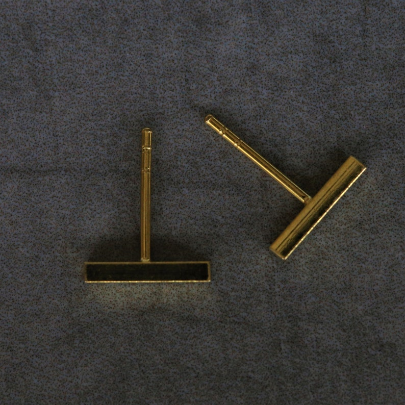 Delicate Stud Earrings Gold Bar Earrings Geometric Ear Studs Minimal Studs Minimal Gold Plated Bar Studs