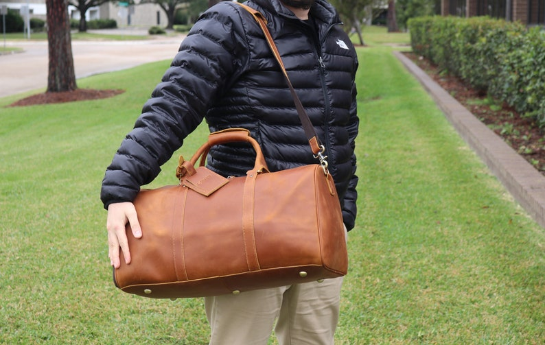 Monogrammed leather duffle bag men groomsmen gift image 0