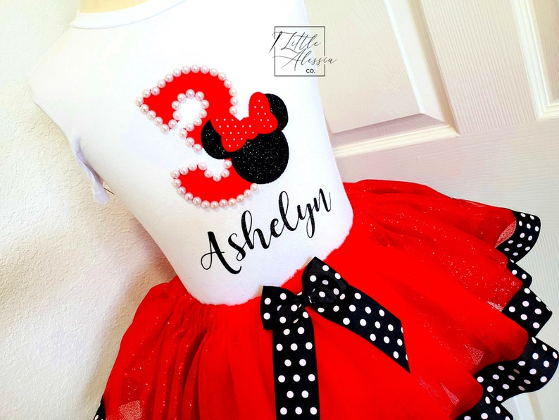 Minnie Mouse Birthday Outfit Minnie Mouse 2nd Birthday ANY NUMBER Minnie Ribbon Tutu Minnie Tutu Outfit