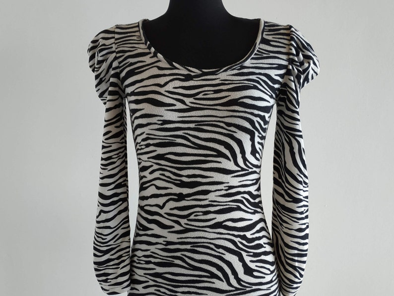Puffed Sleeve Animal Print Cotton Dress