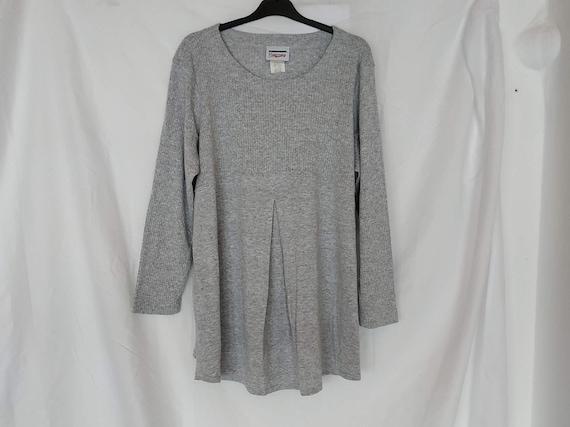 80s Vintage Gray Maternity Blouse, Maternity Cloth