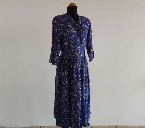 70s Vintage Peasant Dress, Eileen West, Blue Flora
