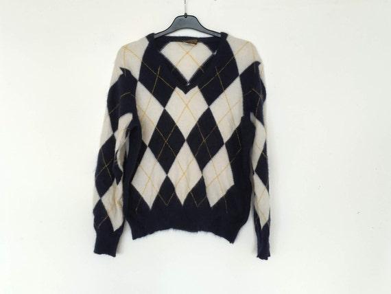 Angora Wool Navy Blue Argyle Sweater, Women's Vint