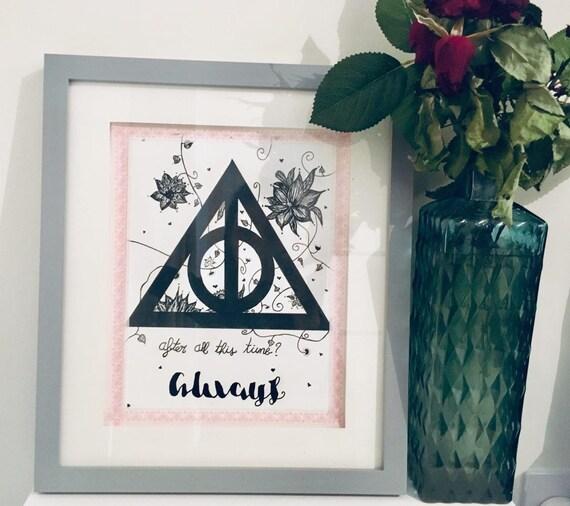 Harry Potter   Deathly Hallows Ink framed wall art