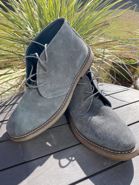Gray Genuine leather suede Boots Men Size 12. Vint