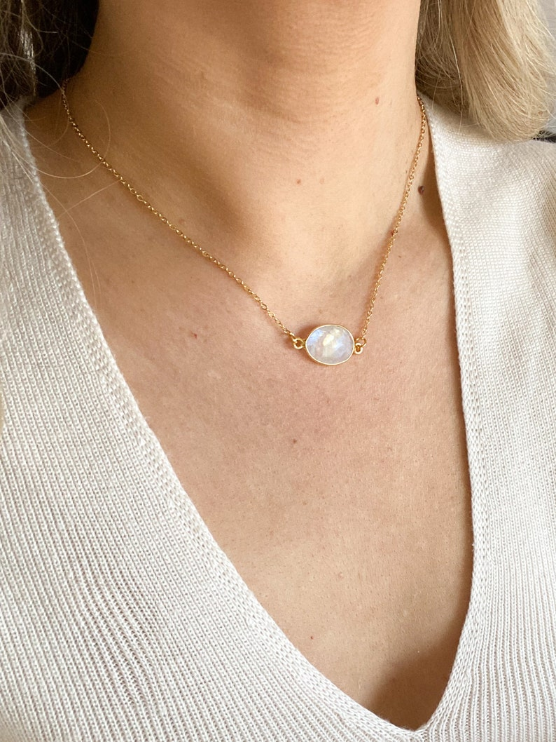 Gold Moonstone necklace in a giftbox adjustable rainbow moonstone necklace crystal necklace fire moonstone pendant mothers day gift