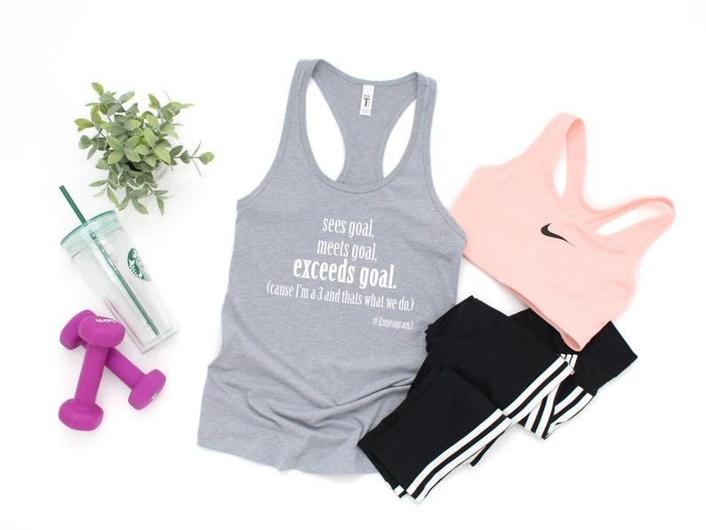 Meets Goal Enneagram Gifts Sees Goal Exceeds Goal Enneagram Workout Wear. Enneagram Type 3 Workout Tank