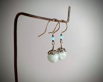 Rose Quartz Earrings Pink Stone Earrings,Sterling Silver Earrings,May Birthstone,Taurus Birthstone Love Stone,Casual Earrings,