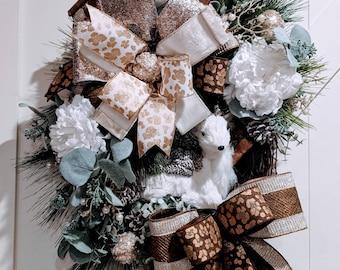 Rustic winter wreath, deer wreath, winter wreath, front door wreath, winter decor