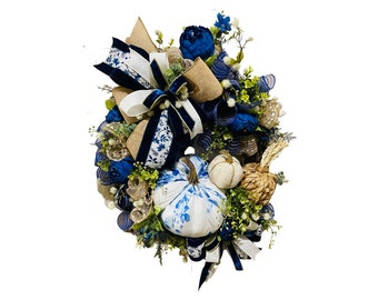 Front door fall wreath, blue and white fall wreath, front porch decor for fall, non traditional fall wreath, fall grapevine wreath, autumn