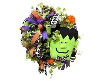 Halloween wreath for front door, Frankie wreath, Frankenstein Halloween decor, front porch decor, autumn wreath, twig wreath for Halloween