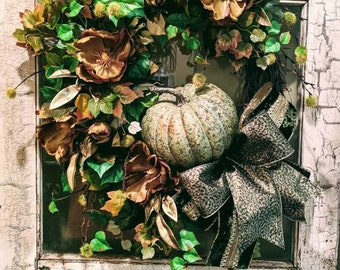Fall wreath, fall pumpkin wreath, front porch wreath, front door fall wreath, porch decor, autumn wreath