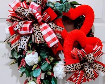 Heart wreath, valentine's wreath, twig wreath, stick wreath, front door wreath, front porch decor, DecoExchange