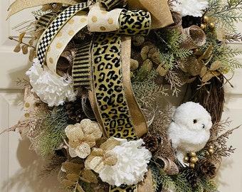Winter front door wreath, snow owl front porch decor, winter wall decor, glam twig wreath