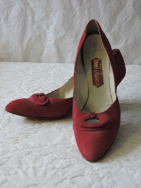 Red Suede Kitten Heels Circa 1960