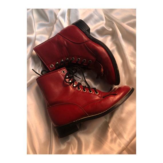 Red Leather vintage Justin Roper Boots / Vintage
