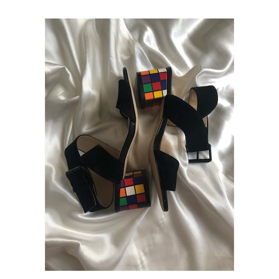 Retro Suede Leather Rubik's Cube heel / Rubik's Cu