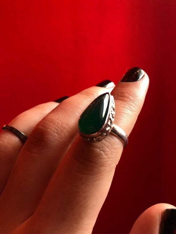 Green Onyx Silver Ring / Silver Green / Green Onyx