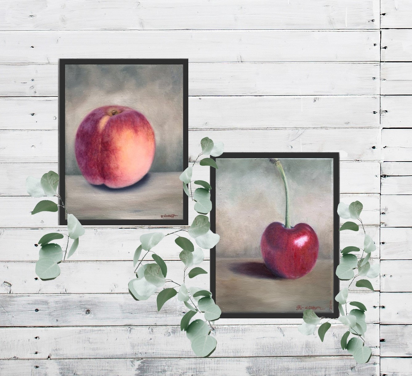 Peach And Cherry Original Oil Painting Set Of Prints Set Of 2 Fruit Still Life Framed Paintings Kitchen Wall Art Sets Fruit Wall Decor