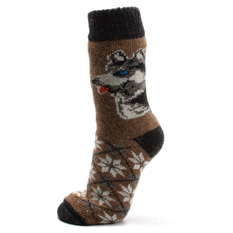 Winter Pattern. Best Christmas New Year Wool Knitting Socks for husband with Wolf Dog husky with blue eyes from Game of Thrones Snowflakes