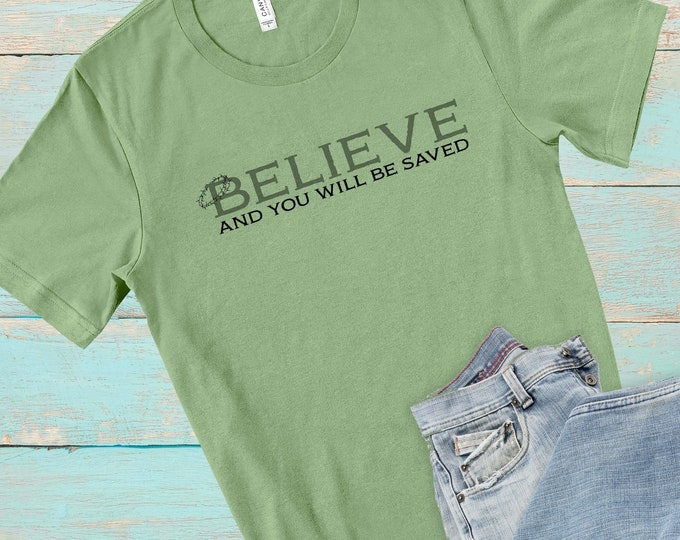 Believe, Men's Short Sleeve Tee, Christian Tee, Faith Tee, Believe T-shirt, Gift For Him, Scripture Tee, Inspirational Tee