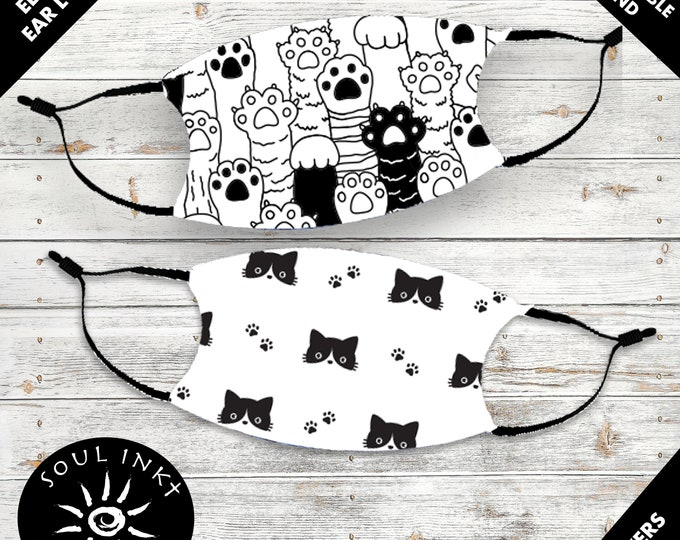 Cat Lovers Face Mask | Adjustable Ear Loops | Washable Face Mask | Cute Face Mask | Breathable Face Mask | Reusable | Adult Face Mask