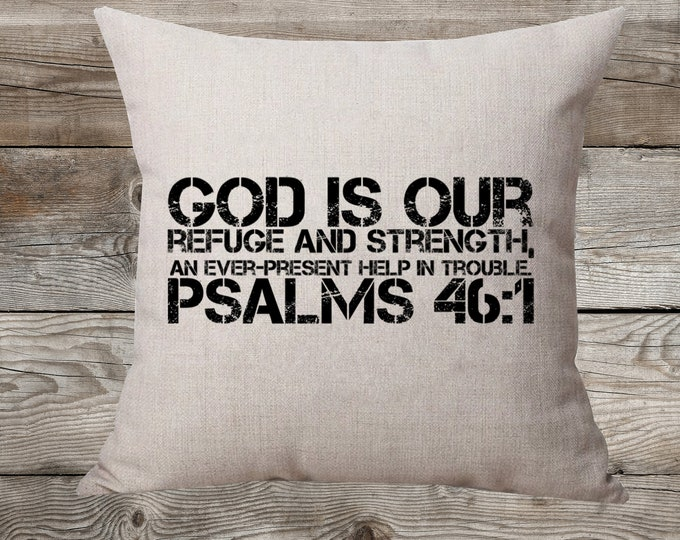God Is Our Refuge And Strength Linen Pillow
