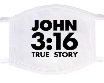 John 3:16 True Story Face Mask   Washable Face Mask   Christian Face Mask   Breathable Face Mask   Reusable Face Mask   Soft Face Mask