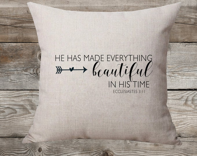 Beautiful In His Time Linen Pillow
