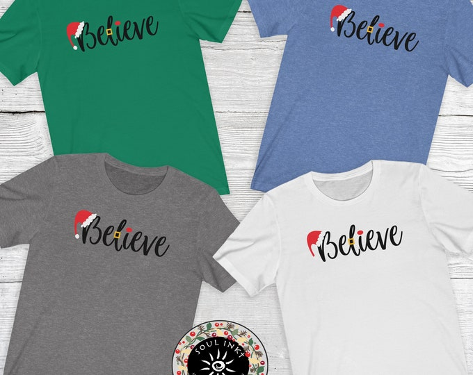 Believe With Christmas Hat Short Sleeve Tee