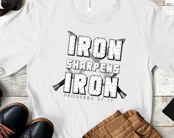 Proverbs 27:17 - Iron Sharpens Iron | Men's Short Sleeve Tee | Christian t-shirt | Religious t-shirt | Faith t-shirt | Men's Tees