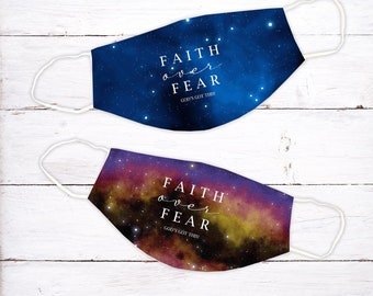 Faith Over Fear Face Mask | Space | Face Mask | Washable Face Mask | Christian Face Mask | Breathable Face Mask | Reusable Face Mask | Soft