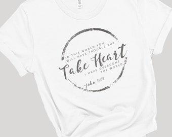 Take Heart I Have Overcome The World   John 16:33   Women's Short Sleeve Tee   Christian t-shirt   Religious t-shirt   Faith t-shirt   Bible
