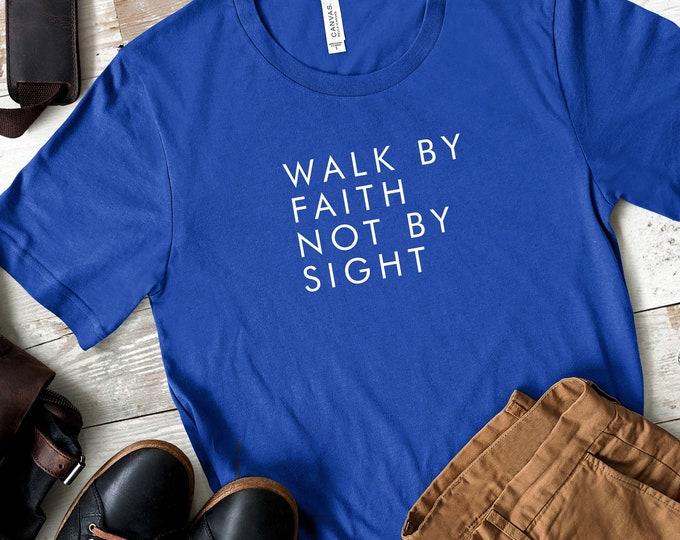 Walk By Faith Not By Sight Men's Short Sleeve Tee   Christian t-shirt   Religious t-shirt   Faith t-shirt   Men's Tee