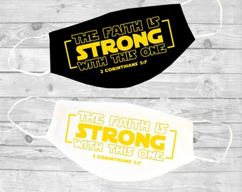 Strong Faith | Adult Face Mask | 2 Corinthians 5:7  | Washable | Reusable Face Mask | Christian Face Mask | Pocket For Filter
