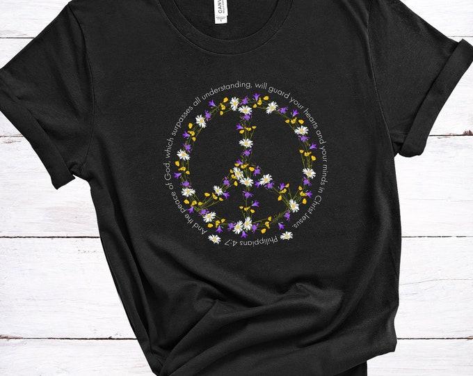 Peace Of God Women's Short Sleeve Tee, Women's Tee, Women's T-shirt, Christian Tee, Bible Verse Tee, Philippians 4:7, Hippie Tee, Peace Sign