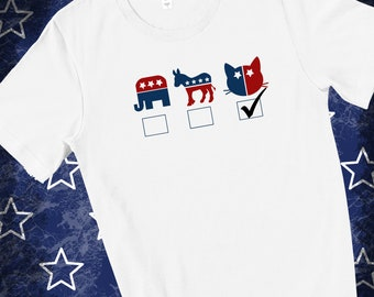 Vote Replublican | Vote Democrat | Vote Cat | Unisex Short Sleeve White T-shirt | 2020 Election Tee | Trump vs Biden Tee | Political Tee