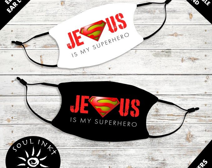 Jesus Is My Superhero Kids Face Mask | Adjustable Ear Loops | Washable Face Mask | Christian | Breathable Face Mask | Reusable Face Mask