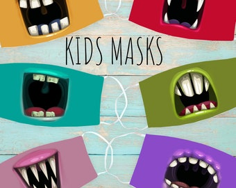 Silly Monster Mouth Kid's Face Mask | Washable Face Mask | Christian Face Mask | Breathable Face Mask | Reusable Face Mask | Soft Face Mask