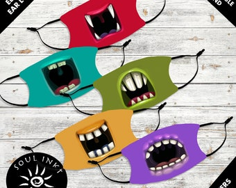Silly Monster Mouth Kid's Face Mask | Adjustable Ear Loops | Washable Face Mask | Christian Face Mask | Breathable Face Mask | Reusable Mask