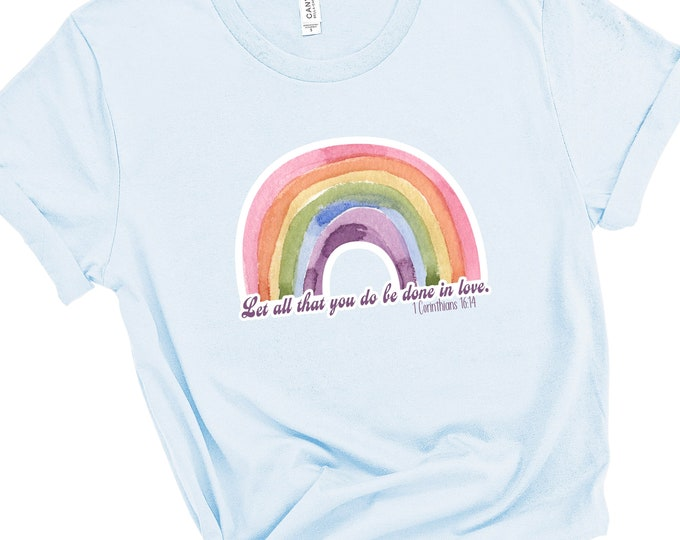 1 Corinthians 16:14, Let All You Do Be Done In Love, Women's Short Sleeve Tee, Christian t-shirt, Religious t-shirt, Faith t-shirt