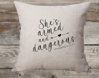 She's Armed And Dangerous Linen Pillow