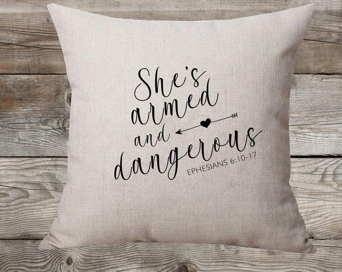 She's Armed And Dangerous Linen Pillow