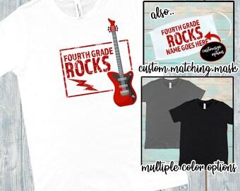 Fourth Grade Rocks! T-Shirt & Mask   Custom Forth Grade Rocks! Face Mask   Customizable Fourth Grade Rocks! Mask