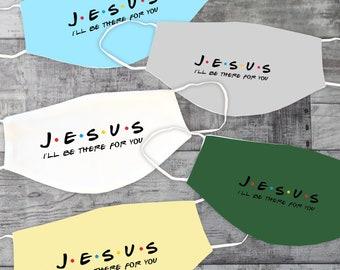 Jesus Friends Face Mask   Washable Face Mask   Christian Face Mask   Breathable Face Mask   Reusable Face Mask   Pocket For Filter