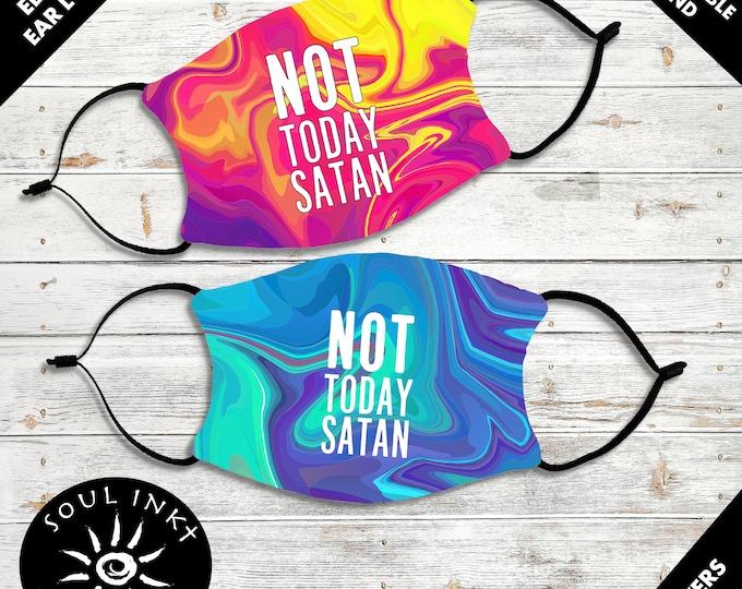Not Today Satan Face Mask | Washable Face Mask | Christian Face Mask | Christian Mask | Reusable Face Mask | Pocket For Filter | Adult Mask
