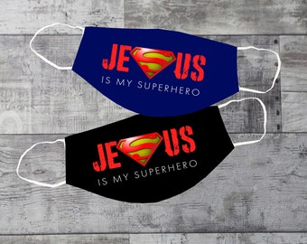 Jesus Is My Super Hero Face Mask | Washable | Reusable Face Mask | Christian Face Mask | Reusable Face Mask | Pocket For Filter | Adult Mask