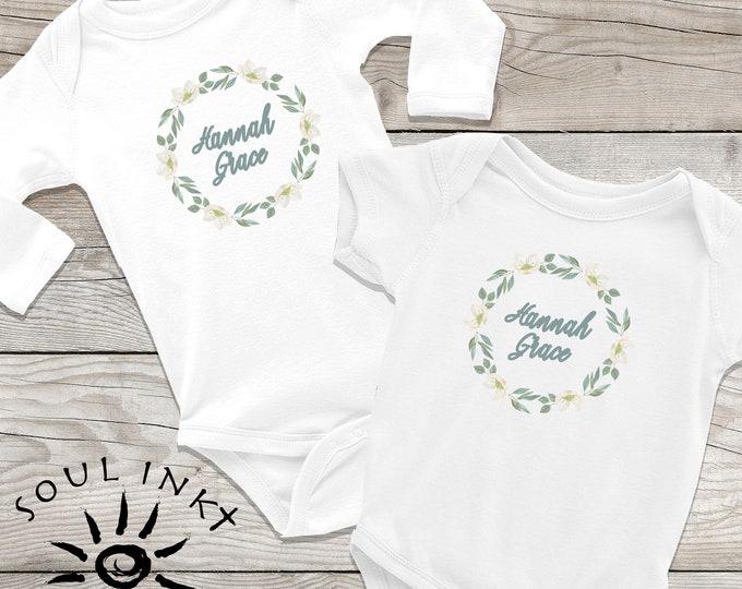 Custom Flower Wreath Baby Onesie | Custom Baby Outfit | Baby Gift | Baby Girl | Baby Shower Gift | Gift For New Mom | Flower Onesie