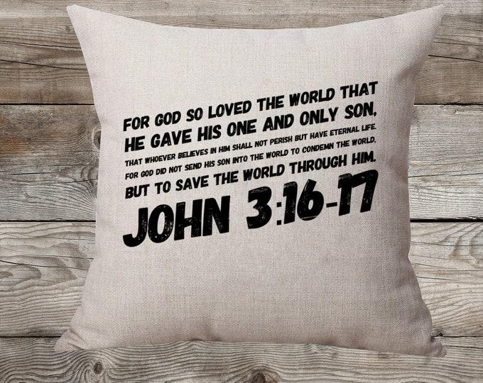 John 3:16 - Linen Pillow