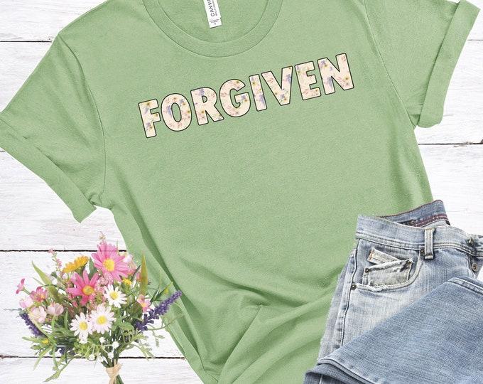 Forgiven, Women's Short Sleeve Tee, Christian t-shirt,  Religious t-shirt, Faith t-shirt , Christian Woman, Gift For Women, Christian Gift